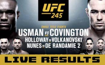 Результаты турнира UFC 245: Камару Усман — Колби Ковингтон, Макс Холлоуэй — Александр Волкановски, Аманда Нуньес — Жермейн Де Рандами