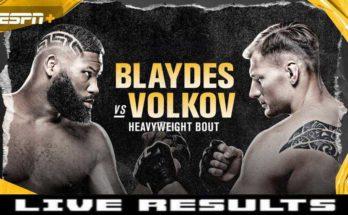 Результаты турнира UFC on ESPN 11: Александр Волков — Кертис Блэйдс