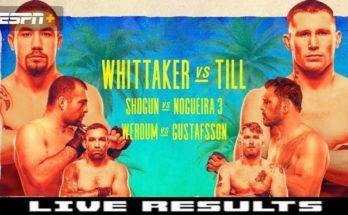 Результаты турнира UFC on ESPN 14: Роберт Уиттакер – Даррен Тилл