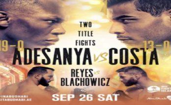 Прямая трансляция UFC 253: Исраэль Адесанья — Пауло Коста, Доминик Рейес — Ян Блахович